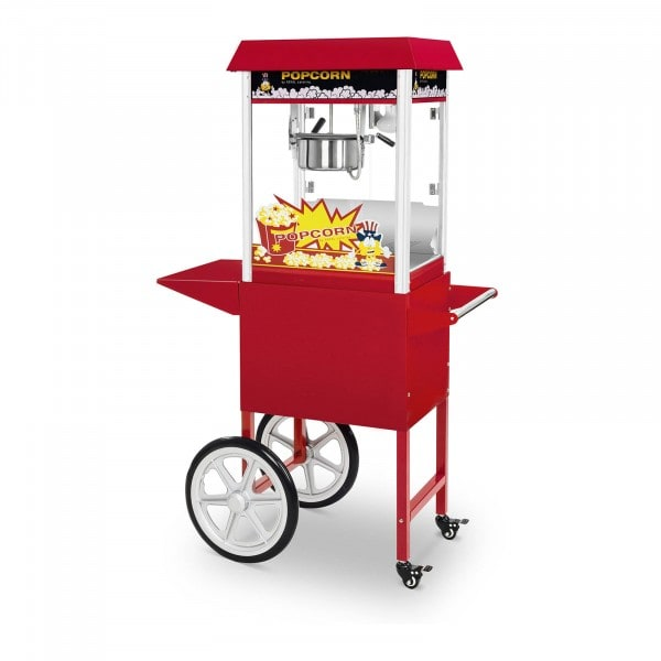 Popcorn-kone ja kärry - 1 495 W - retrotyyli - punainen