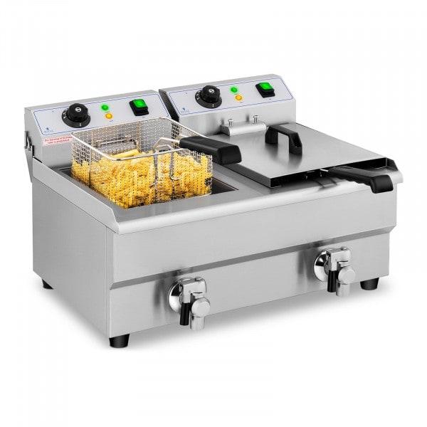 Freidora eléctrica - 2 x 10 litros - grifo de vaciado - 230 V