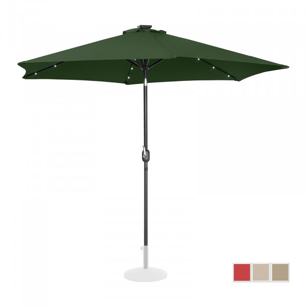 Parasol with lights - green - round - Ø 300 cm - tiltable