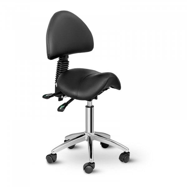 Krzesło siodłowe Berlin z oparciem - czarne