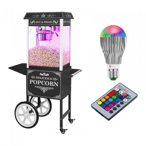 Popcorn machine with cart and LED RGB-Lighting - Retro Design - black