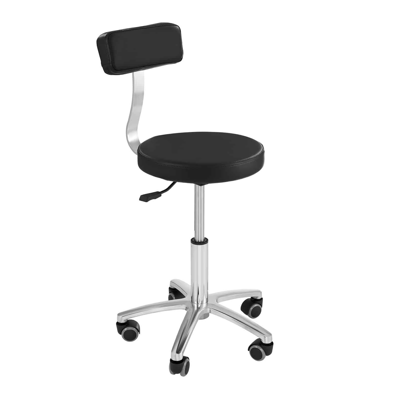 Czarne krzesło kosmetyczne Terni - regulowane