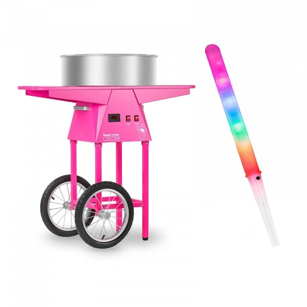 Candy Floss Machine Set with LED Cotton Candy Sticks and Cart - 52 cm - 1,030 watts