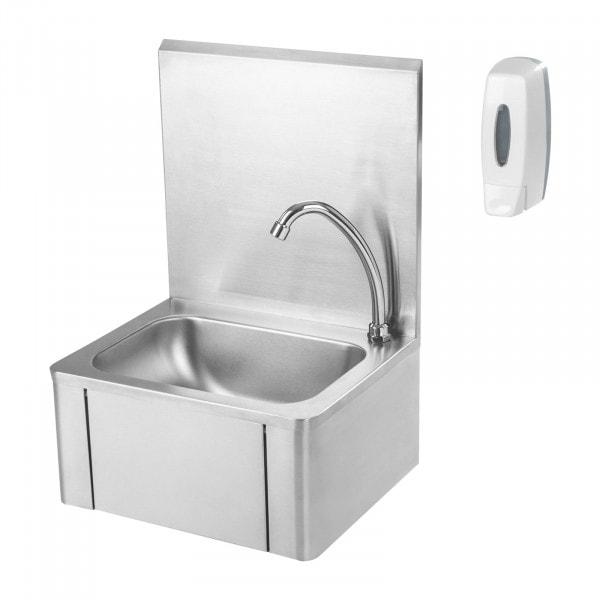 Umywalka do rąk włączana kolanem - dozownik mydła