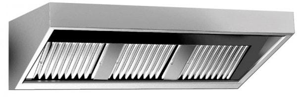 Wandhaube Eco - 2800x700x450 mm - Komplett aus Edelstahl - inkl. Beleuchtung - Flammschutzfilter - u