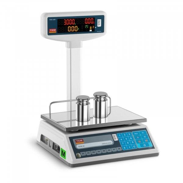 B-Ware Preisrechenwaage mit LED-Hochanzeige - geeicht - 1,5 kg/ 0,5g - 3 kg/1 g
