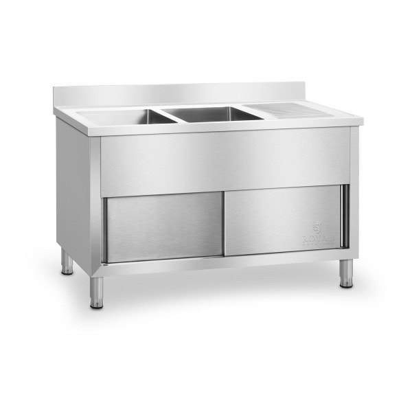 B-termék Szekrényes konyhai dupla mosogató asztal - 140 cm