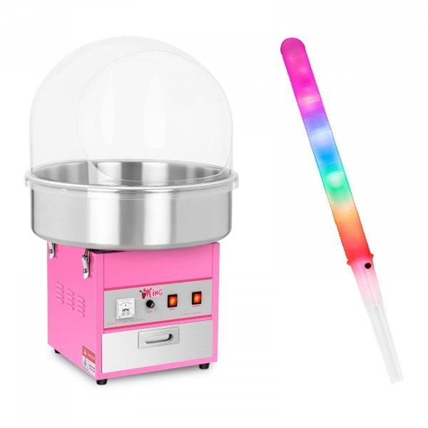 Sockervaddsmaskin - Set - inkl. 50 LED-sockervaddspinnar - 1.200 Watt - Skyddskåpa