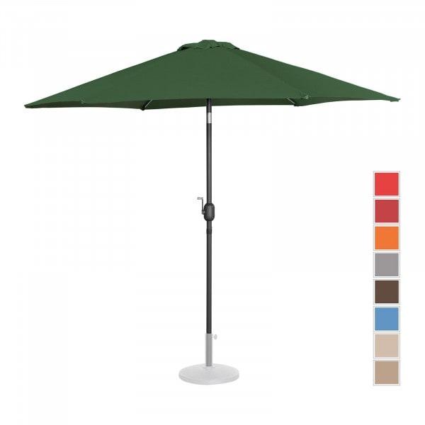 Brugt Parasol - grøn - sekskantet - 270 cm i diameter - knæk-position