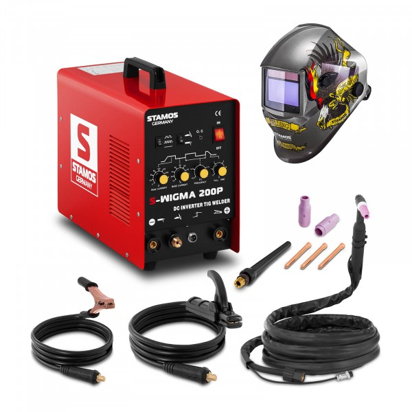 TIG-svets - 200 A - 230 V - puls + Svetshjälm – Eagle Eye – Advanced Series