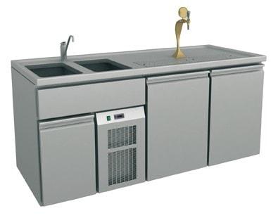 Ausschanktheke - 1965x700x900 mm - Umluftkühlung - 2 Türen für Flaschen oder Fässer - 2 Spülbecken r