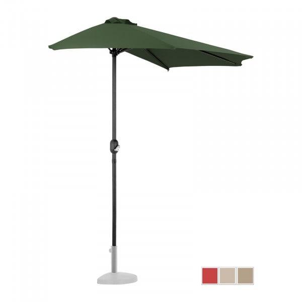 Brugt Halv parasol - grøn - femkantet - 270 x 135 cm