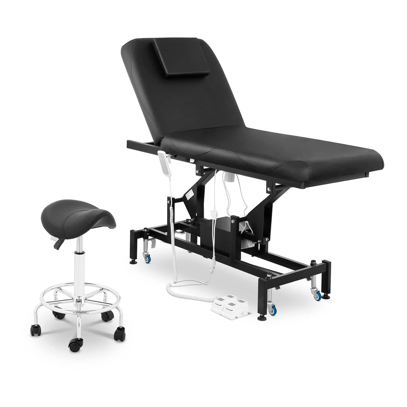 Zestaw Łóżko do masażu Physa Lyon Black + Krzesło siodłowe Frankfurt w kolorze czarnym
