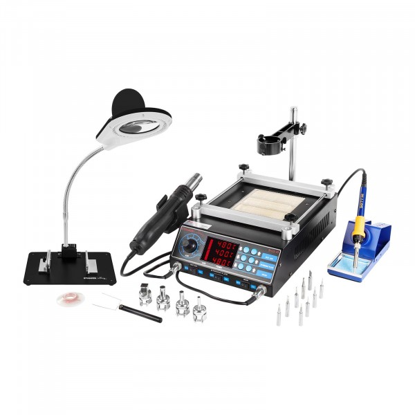 Set Soldering Station with Pre-Heating plate and 2 Clamps + Accessoires