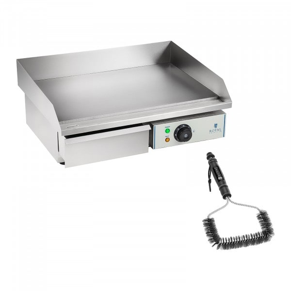 Electric Griddle Set with Grill Brush - 55 cm - smooth - 3,000 W