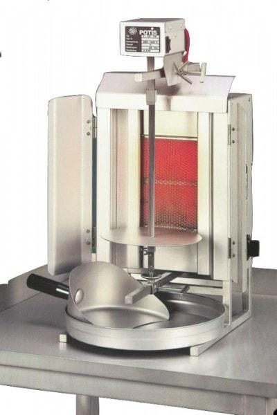 Gas-Gyrosgerät Potis GD1 - 340x420x605mm - komplett - mit Fettwanne - Stellfläche 340x420 mm