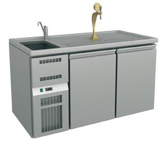 Ausschanktheke - 1565x700x900 mm - Umluftkühlung - 2 Türen für Flaschen oder Fässer - 1 Spülbecken l