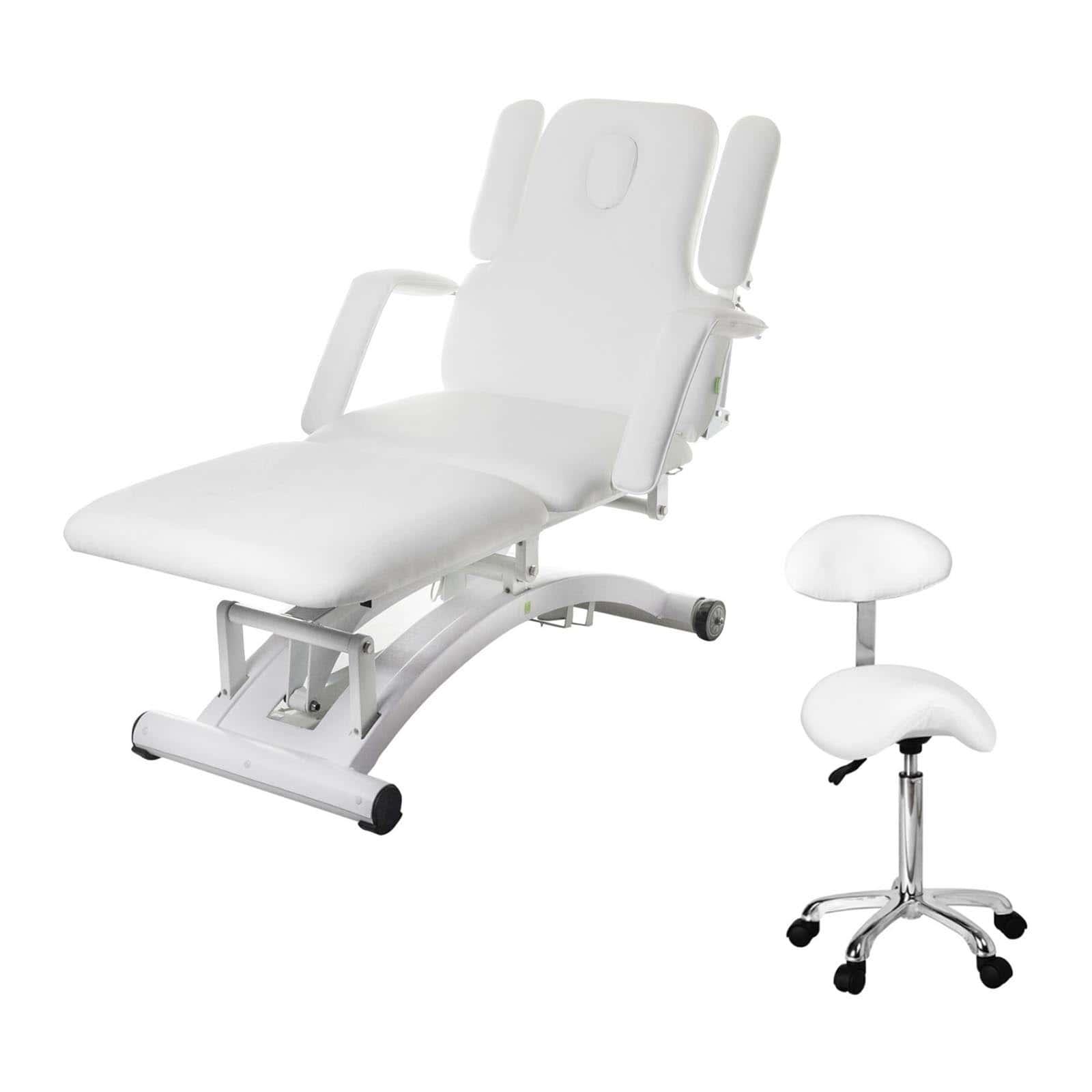 Komplet Białe łóżko do masażu Divine - elektryczne + Krzesło siodłowe Physa Relaxy - białe - oparcie