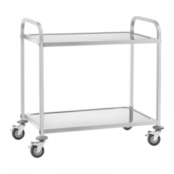 Stainless Steel Serving Trolley - 2 Shelves - Up To 100 kg