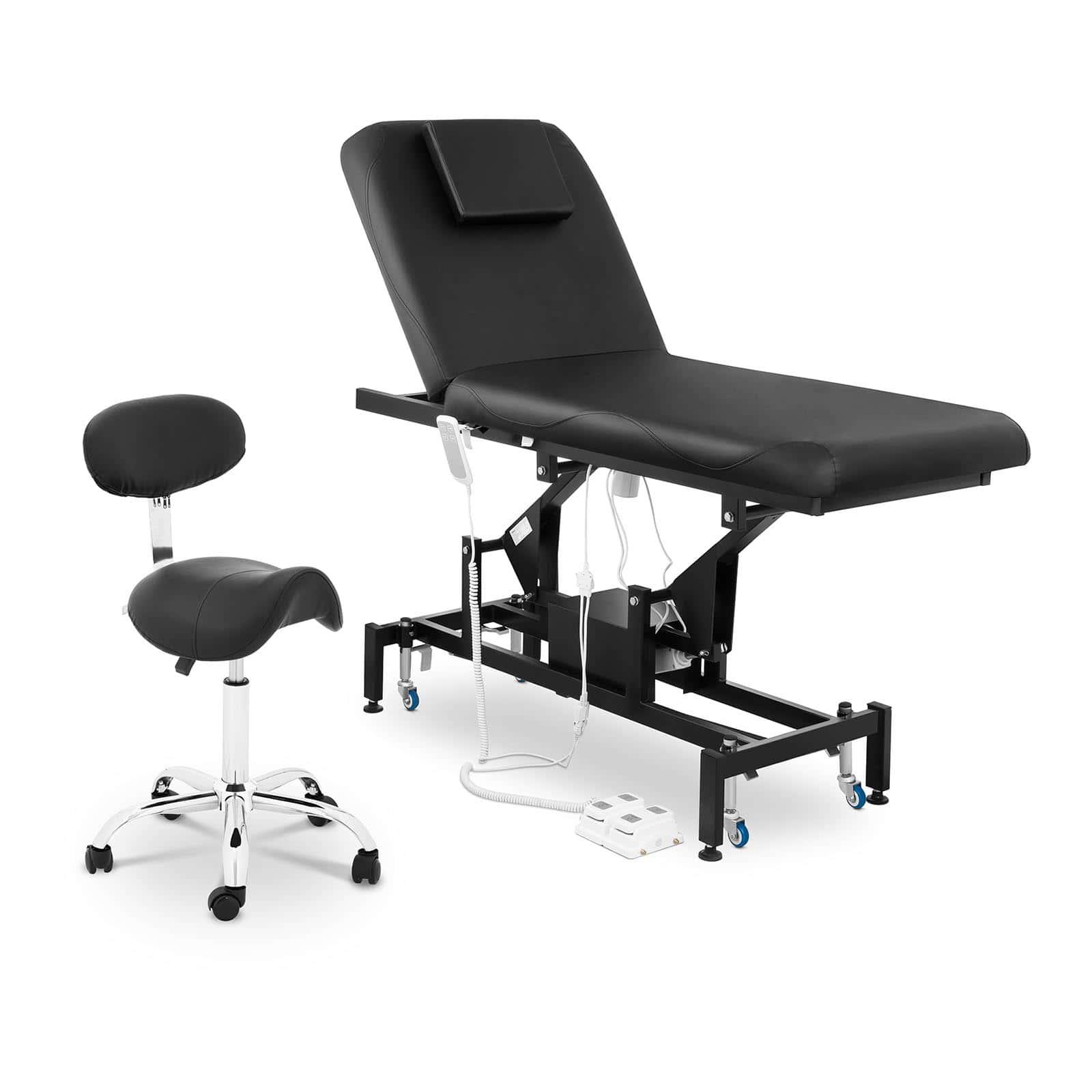 Zestaw Łóżko do masażu Physa Lyon Black + Krzesło siodłowe Hamburg w kolorze czarnym