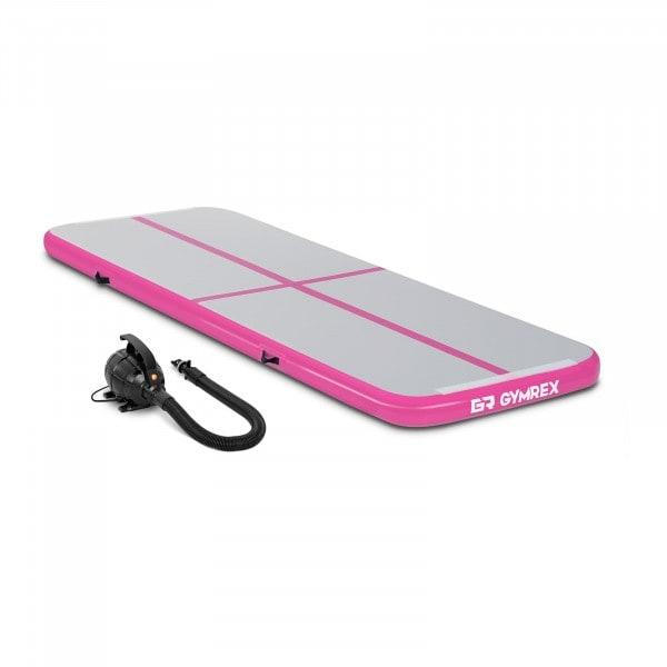 Set Aufblasbare Turnmatte inklusive Luftpumpe - 300 x 100 x 10 cm - 150 kg - pink/grau