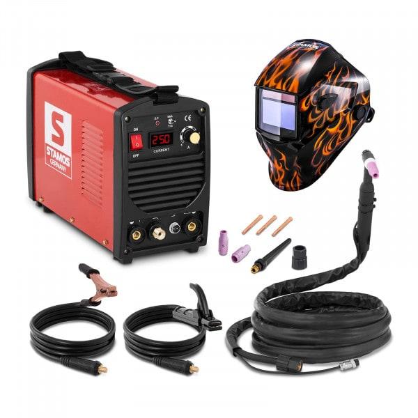 Hitsaussetti TIG-hitsauskone - 250 A - 230 V - kannettava + Hitsausmaski – Firestarter 500 – ADVANCED SERIES