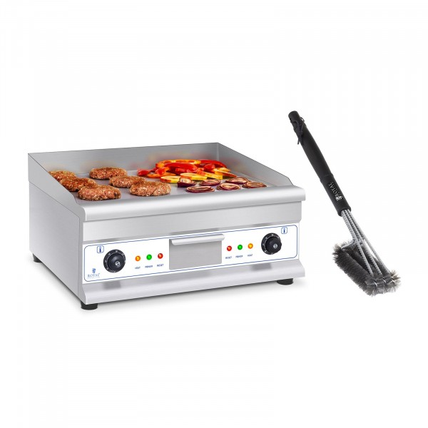 Double Electric Griddle Set with 3-Sided Grill Brush - 60 cm - smooth - steel - 2 x 3,200 W