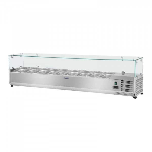 Countertop Refrigerated Display Case - 180 x 33 cm - 9 GN 1/4 Containers - Glass Cover