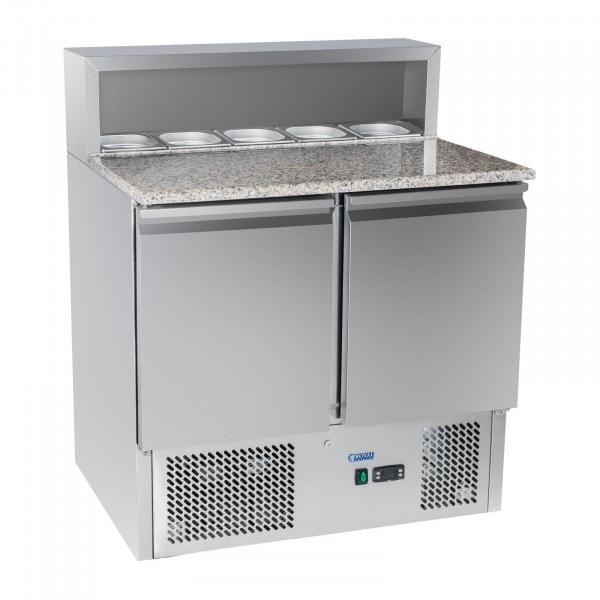 Gesamtansicht von Pizza-Kühltisch - 90 x 70 cm - Granitplatte