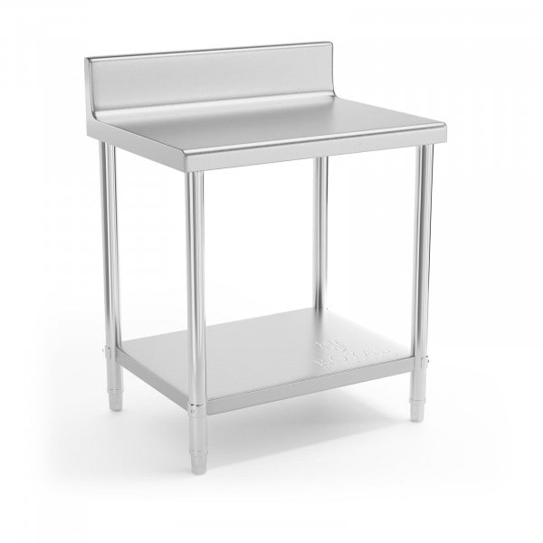 Stainless Steel Work Table - 80 x 60 cm - upstand - 190 kg load capacity