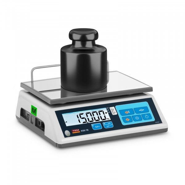 Weighing scale - Calibrated - 15 kg / 5 g - LCD - Memory