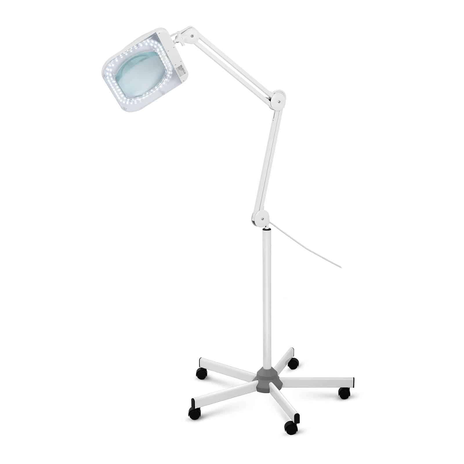 Zestaw lampa kosmetyczna z lupą - 5 dioptrii - LED + statyw do lampy kosmetycznej - 5 kółek