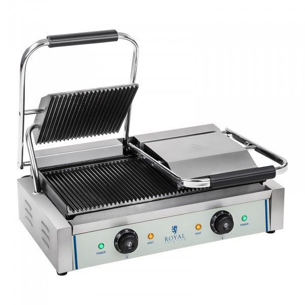 Machine à panini nervurée double - 2 x 1 800 W