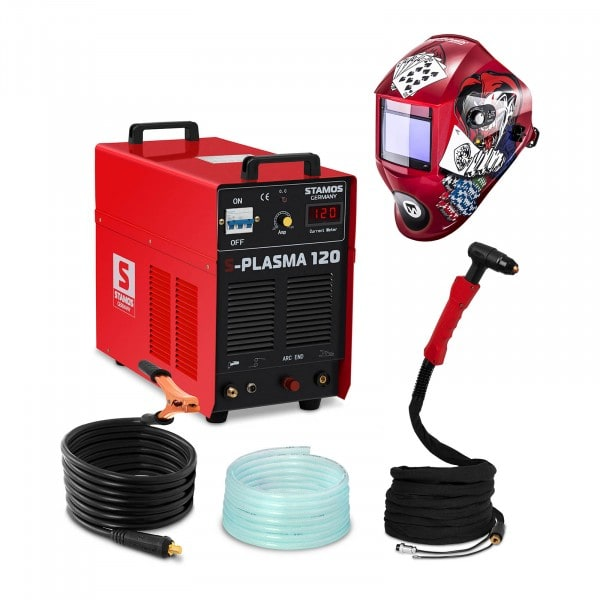 Welding Set Plasma Cutter - 120 A - 400 V - pilot ignition + Welding helmet –Pokerface - PROFESSIONAL SERIES