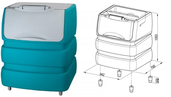 Speicher für Eiswürfelbereiter - Serie BIN - 942x795x1053mm
