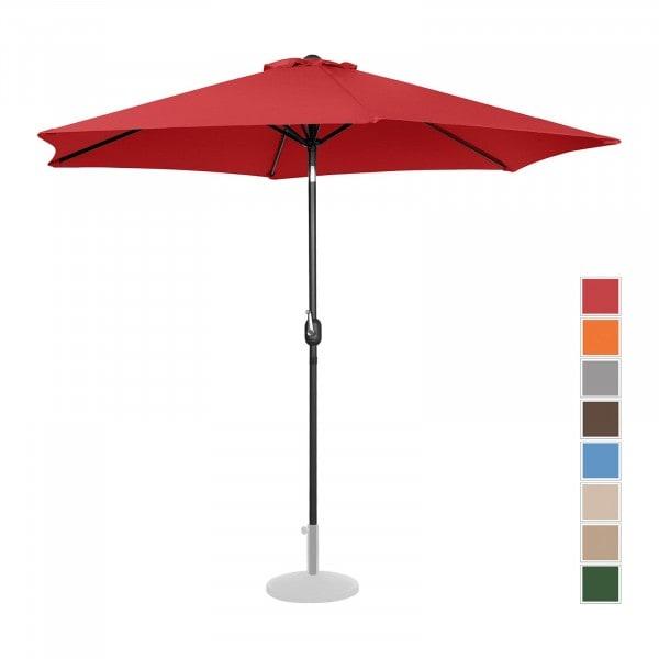 Sonnenschirm groß - rot - sechseckig - Ø 300 cm - neigbar