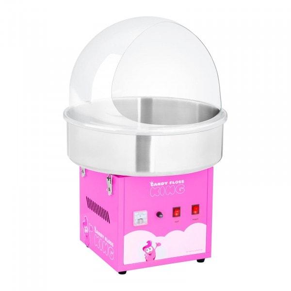 Sukkerspinnmaskinsett med beskyttelsesskjerm - 52 cm - 1.200 W - rosa