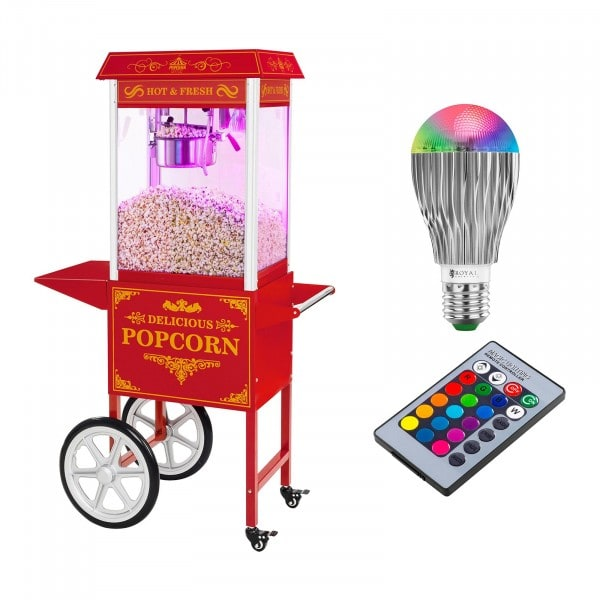 Popcorn machine with cart and LED RGB-Lighting - Retro Design - red
