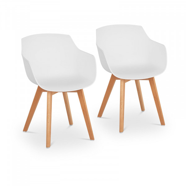 Chair - set of 2 - up to 150 kg - seat 41 x 40 cm - white