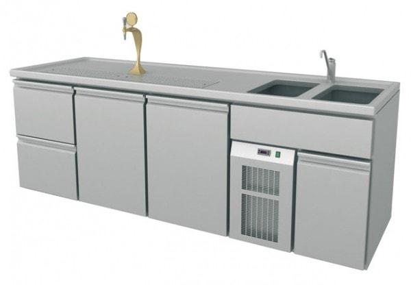 Ausschanktheke - 2545x700x900 mm - Umluftkühlung - 500 W - 2 Türen für Flaschen oder Fässer - 2 Schu