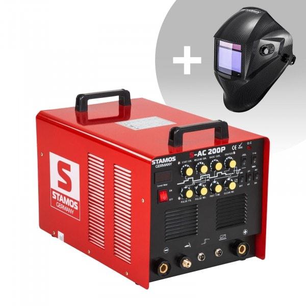 Schweißset ALU Schweißgerät - 200 A - 230 V - Puls + Schweißhelm – Carbonic