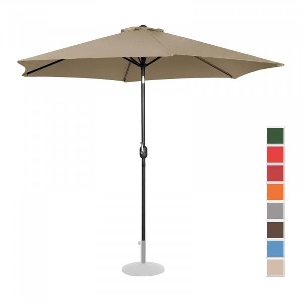 Large Outdoor Umbrella - taupe - hexagonal - Ø 300 cm - tiltable