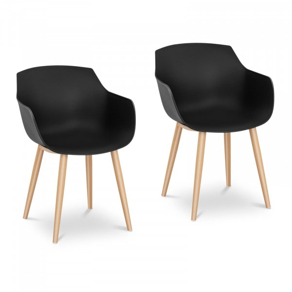 Chair - set of 2 - up to 150 kg - seat 43 x 40 cm - black