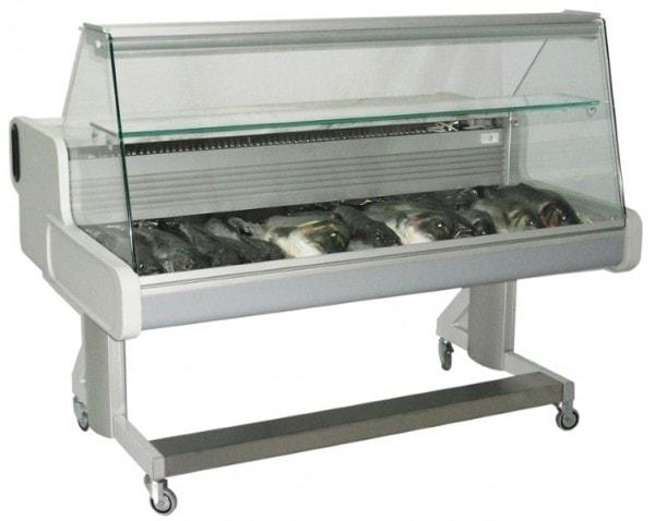 Fahrbare Fischtheke 2064x1114x1105mm - gerade Scheibe